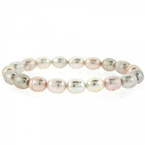 Genuine Freshwater Cultured White, Peach, and Pink Multicolor Pearl Oval Stretch Bracelet