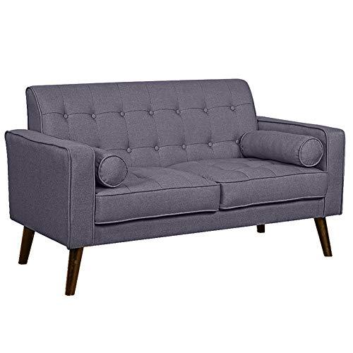 Bakaji divano 2 posti in tessuto di lino trapuntato imbottito con schiuma ad alta densità struttura in legno masselo piedini in legno dimensione 141 x 75 x 81 cm (grigio scuro)