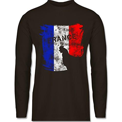 Shirtracer Fußball-WM 2018 - Russland - France mit Hahn Vintage - Herren Langarmshirt Braun