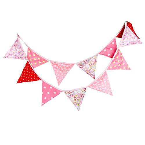 Guirnaldas de tela de algodón de 3,3 m 12 triángulo banderas banderín cara doble bandera bandera para decoraciones de fiesta de cumpleaños
