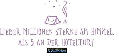 CLICKANDPRINT Aufkleber » Lieber Millionen Sterne am Himmel als 5 an der Hoteltür, 120x49,0cm, Flieder • Dekoaufkleber / Autoaufkleber / Sticker / Decal / Vinyl