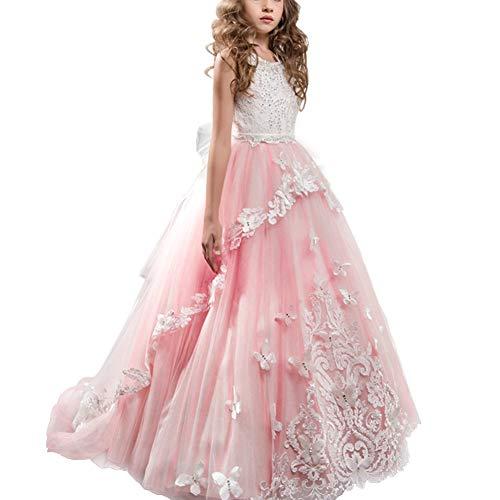 IBTOM CASTLE Mädchen Blumenmädchen Hochzeit Prinzessin Perle Festlich Applique Tüll Elegant Weihnachten Spitzenkleid Cocktailkleid Kleider #9 Rosa Koralle 2-3 Jahre