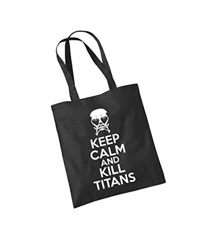 - AoT Keep Calm and Kill Titans - Baumwolltasche Schwarz, langer Henkel