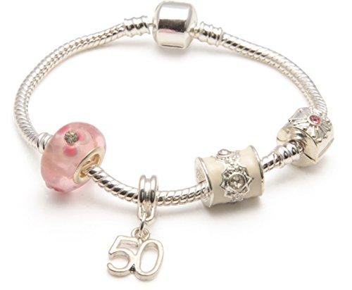 Bling rocks parfait'motivo: anni 50, colore: rosa, in argento con charm, stile pandora-bracciale con perline, placcato argento, cod. bwp20j-23cm