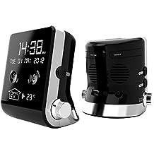 Thomson CT390 - Radio despertador (USB, conexión MP3, AUX, indicador de temperatura) negro