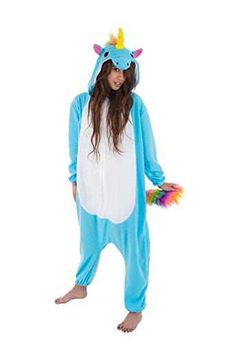 Blauer Einhorn Kigurumi Pyjama Kostüm Gr. M-XL Plüsch Cosplay Damen Onesies