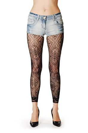 Lace Rectangles - Black Fishnet Designer Opaque Tights Footless