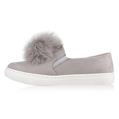 Bequem ons Hellgrau Avion Slip Metallic Damen Slipper Sneakers Optik Kroko CZ0Ocxwq6