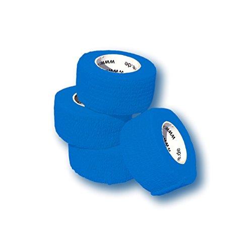 LisaCare Fingerpflaster selbsthaftend - elastisches, wasserfestes, staub- fett- und schmutzabweisendes Pflaster - BLAU - 4 Rollen á 2,5cm x 4,5m (Stoff-haar-rollen)