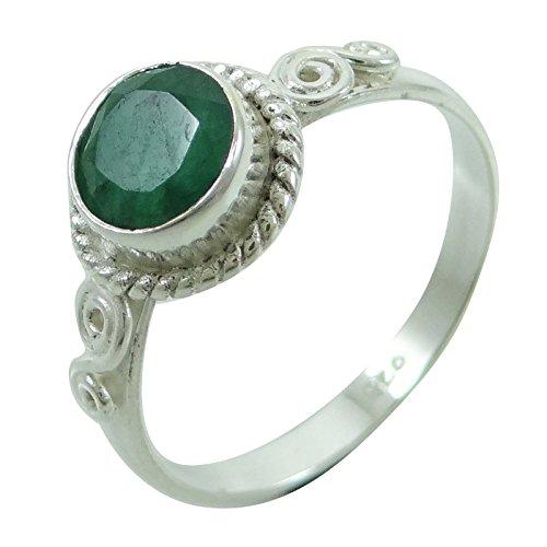 925 Reinem Silber Smaragdring Frauen Tragen Geschenk Ethnischen Indischen Modeschmuck