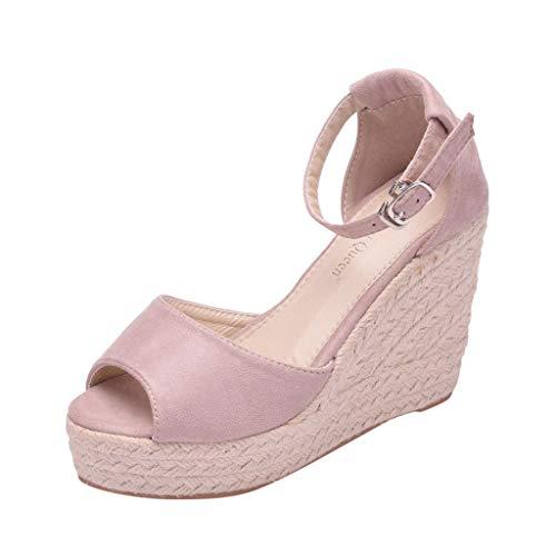 AIni Damen Schuhe Sommer Beiläufiges 2019 Neuer Heißer Keil Sandalen Mode Kristall Bling Aushöhlen Römische Schuhe Strand Partyschuhe Freizeitschuhe(35,Rosa)