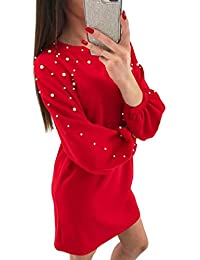 beautyjourney Robe Pull Femme Sexy Grande Taille,Femmes Occasionnels O-Neck Solide Perles à Manches Longues Dames en Vrac Mini Robe Robe Pull Femme Sexy Hiver Robe Pull Femme Sexy Col V