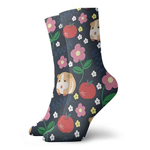 Zhengzho Meerschweinchen und Äpfel Athletic 30cm Socken Söckchen Sport Casual Socken Baumwolle Crew Socken für Männer Frauen -
