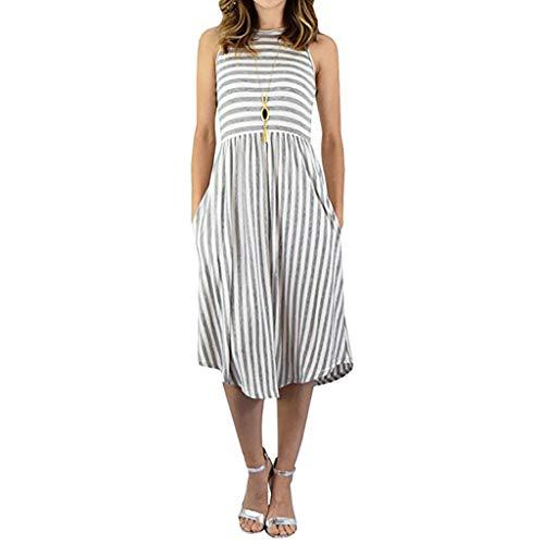 ESAILQ Bekleidung Women Easy Stripe Ärmelloses Kleid mit rundem Taschenkragen
