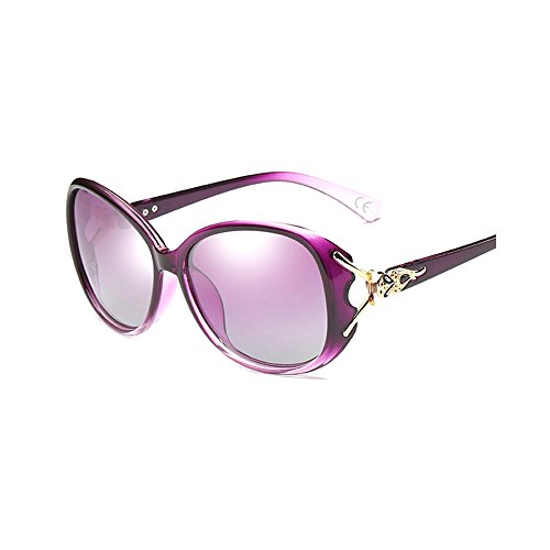 BVAGSS Retro Polarisiert Sonnenbrille Damen Big Rahmen 100% UV400 Schutz (Purple Frame With Purple Lens)