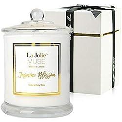 La Jolie Muse Bougie Parfumée Jasmine Coffret Cadeau pour La Fête Anniversaire Famille Maison Décor en Cire de Soja Naturellle 60 Heures