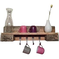 Küchenregal aus Paletten - rustikal für 4 Tassen - Gabelhaken - Palettenmöbel