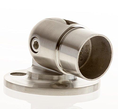 uss mit Gelenk für Rohr 42,4 mm geschliffen (satin Korn 320) V2A - 3 Loch Befestigung Bayram® (Kleider Mit Rosetten)