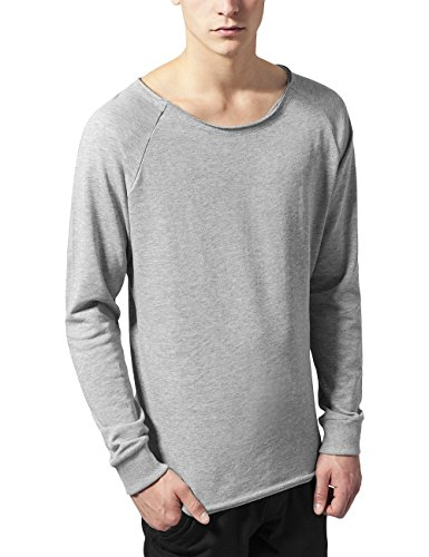 Urban Classics Long Open Edge Terry Crewneck, Felpa Uomo, Grau (Grey 111), Large
