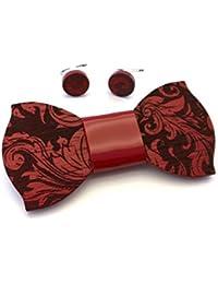 GIGETTO Kit Papillon in legno e gemelli, papillon nodo in ecopelle rosso, gemelli con base argento. Farfallino artigianale. Cinturino regolabile. Limited Edition PATTERN