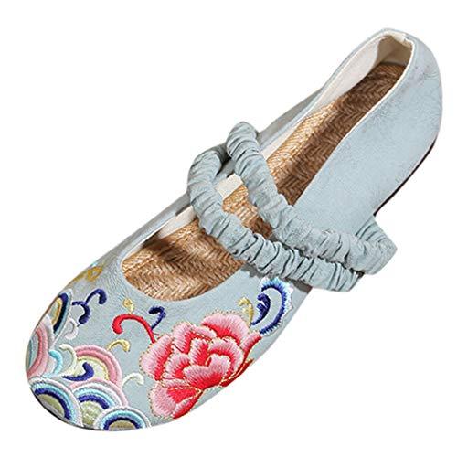 Kostüm Literarische - LILIGOD Frauen Freizeit Ethnischen Stil Flache Schuhe Einzelne Schuhe Slip On Literarisch Baumwolle und Leinen Flacher Mund Bestickte Schuhe Atmungsaktive Kostüm Hanfu Schuhe
