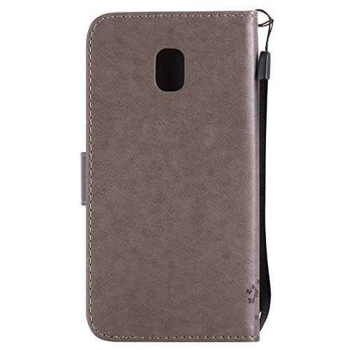 Custodia per Samsung J3 2017 (Versione europea), Galaxy J3 2017 (Versione europea) Cover a libro, iphone X Cover Flip, MoreChioce Lusso Bookstyle Flip PU Pelle Cover Moda Design Modello Gatti e alberi Gatti e alberi-Grigio
