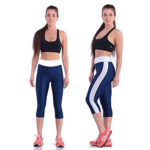 BOZEVON Donna Autunno Skinny Elastico Sottili Pantaloni Stretti Atletico Fitness Yoga Leggings Capri Sport Pantaloni Marina