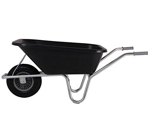 Schubkarre 120 Liter Metallachse, robuste Kunststoffmulde - Bauschubkarre Gartenkarre