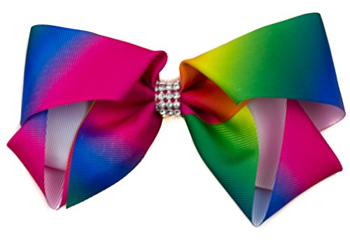 mytoptrendzr-ladies-girls-rainbow-large-ribbon-bow-with-sparkly-crystal-centre-on-beak-style-hair-cl