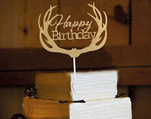Happy Birthday Cake Topper, aixin Twinkle DIY Glitzer ersten Geburtstag Cupcake Topper Kuchen Smash Kerze Alternative Party handgefertigt - antlers happy birthday