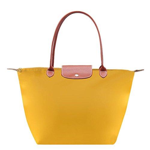 Pixnor-Moda-de-mujer-de-Nylon-bola-de-masa-hervida-forma-bolso-impermeable-bolsa-bolso-amarillo