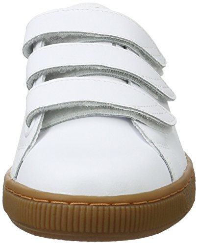 Puma Basket Classic Strap Citi  Unisex Adults    Low-Top Sneakers  White  Puma White-vintage Khaki 01   12 UK  47 EU