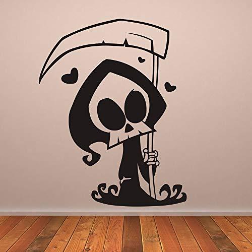 Jtxqe Niedlichen Cartoon Sensenmann Wandaufkleber Für Wohnzimmer Halloween Herzen Vinyl Tapete Aufkleber Dekoration Halloween Wandaufkleber 42X54 Cm