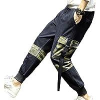 Hombres Color Sólido Sueltos Pantalones,Múltiples Bolsillos Micro-Elásticos Pantalones De Camuflaje,Estampado Rectos Pantalones
