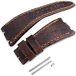 Dark Brown Chesse Holes Leather of Art Watch Strap for AP Royal Oak Offshore, Brown St