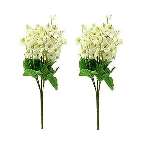KINGSO 2 Pcs Bouquet De Muguet Fleurs Artificielles Plantes Mariage Bureau Maison Décoration-Blanc