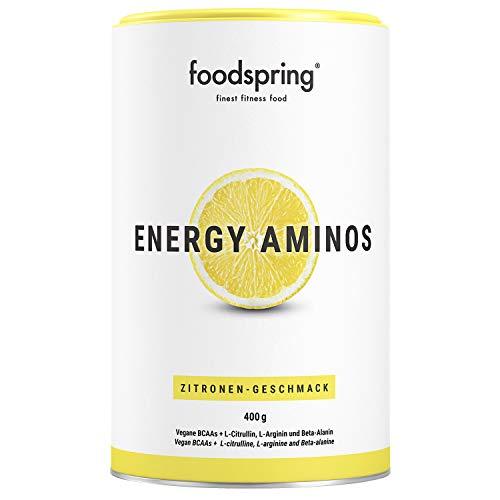 foodspring Energy Aminos, 400g, Zitrone, Cleaner Pre-Workout Booster mit pflanzlichen BCAAs ohne Chemiekeule, Hergestellt in zertifizierten Produktionen in Deutschland -