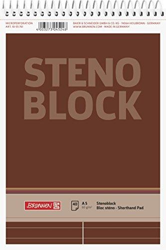 Brunnen 1055761 Stenoblock / Spiralblock / Notizblock (A5, liniert mit roter Mittellinie, 50 Blatt, 60g/m²)