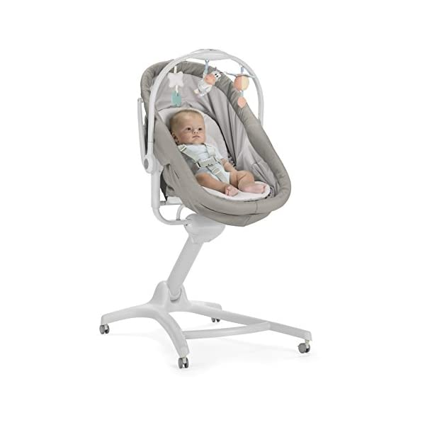 Chicco Baby Hug 4 in 1, Legend  It covers all your and your baby's needs: it is a comfy crib, a recliner from birth, a convenient highchair and finally your child's first chair from 6 months. Adjustable heights and backrest and 4 wheels Removable reducer to make the recliner suitable from birth 3