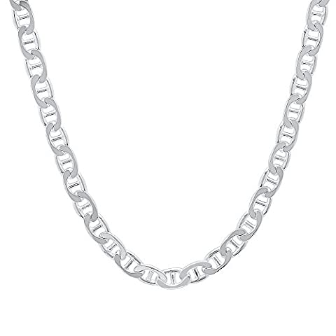 4.6mm Solid 925 Sterling Silver Flat Mariner Link Italian Chain, 76 cm