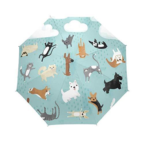 Ultraleichter Niedlicher Tier-Automatischer Faltender Regenschirm-Frauen-Anti-Uvschutz-Sonnenschutz-Winddichter Regenschirm (Tier-peelings Für Frauen)