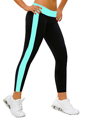 jogginghose damen sport Stretch Leggings Himmelblau&Schwarz jogging damen hose lange,L