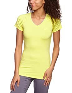 NIKE Damen kurzärmliges Funktionsshirt Pro V Neck II, electric yellow/anthracite, S, 458663