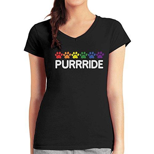 Purride - Pride Design für Katzen Fans Damen T-Shirt V-Ausschnitt Schwarz
