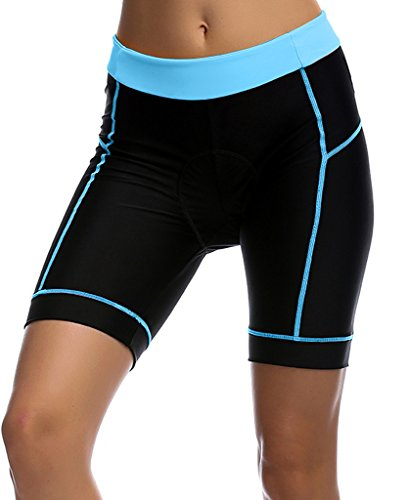UDIY Damen Radhose - Atmungsaktive 3D gepolsterte Fahrradhose, Mädchen Damen, Black+lightblue, S(Waist:23.6-25.9