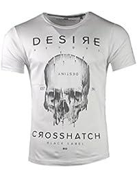 Mens Crosshatch Nouveau Désir T-shirt Design Décontracté Crâne Blanc