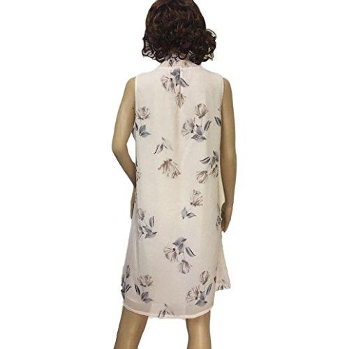 Rcool Frauen Kleiden Sich Elastische Unterhemd ärmelloses Kleid Beige