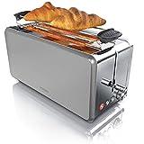 Arendo - Automatik Toaster Langschlitz 4 Scheiben | Defrost Funktion | wärmeisolierendes Gehäuse | Abnehmbarer Brötchenaufsatz | 1500W | herausziehbare Krümelschublade | Arendo DESAYUNO