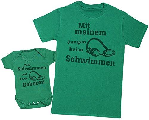 Mädchen Strampler Schwimmen (Zum Schwimmen mit papa geboren - Passende Vater Baby Geschenkset - Herren T-Shirt & Baby Strampler / Baby Body - Grün - L & 3-6 Monate)