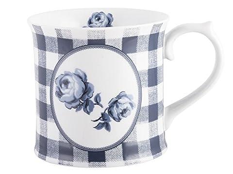Katie Alice Vintage Indigo Gingham Floral Tankard Mug, Porcelain, Blue